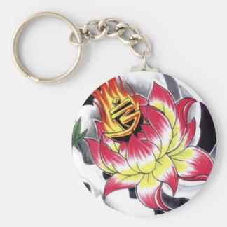 Japanese Tattoo Style Flaming Lotus Flower Key Chain