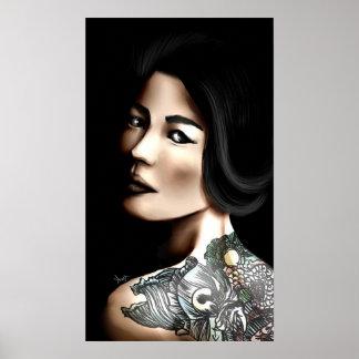 Japanese tattooed woman poster