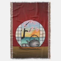 Japanese Tea Room Red Woven Throw Blankets