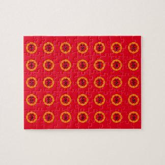 Japanese Tea Symbol, Circular Red Dragon Symbol Puzzles