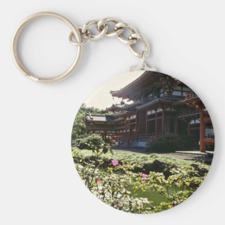 Japanese Temple, Byodo-in - Oahu flowers Key Chains