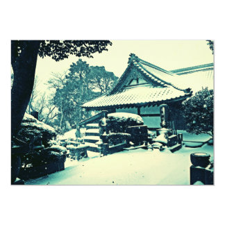 Japanese Temple in the Winter 5x7 Paper Invitation Card