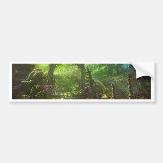 Japanese Temple Ruins Jungle Landscape Bumper Sticker