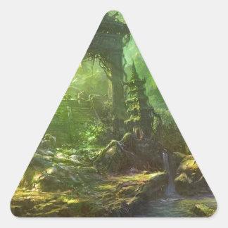 Japanese Temple Ruins Jungle Landscape Triangle Sticker