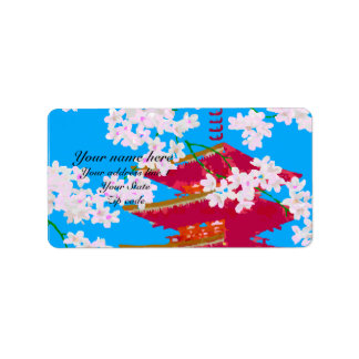 Japanese temple with cherry blossom address label