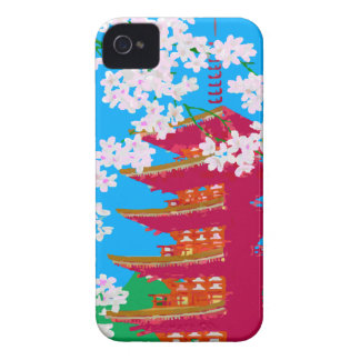 Japanese temple with cherry blossom iPhone 4 case