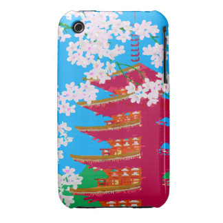 Japanese temple with cherry blossom iPhone 3 case