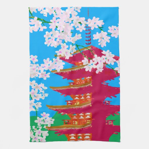 Japanese temple with cherry blossom kitchen towels