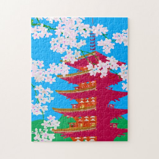 Japanese temple with cherry blossom jigsaw puzzles