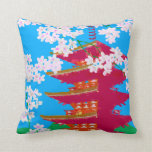 Japanese temple with cherry blossom throw pillow