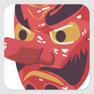 Japanese Tengu Mask Square Sticker