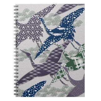 Japanese textile cranes note book