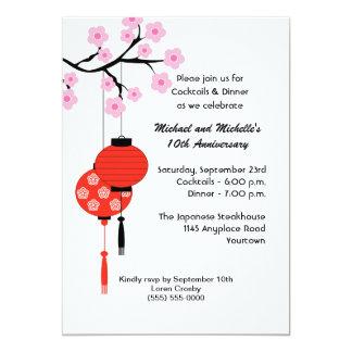 "Japanese Themed Anniversary Invitation 5"" X 7"" Invitation Card"