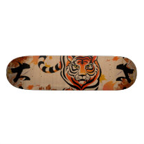 japanese tiger art skateboard
