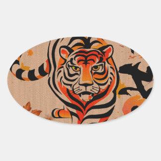 japanese tiger art oval sticker