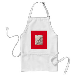 JAPANESE TIGER ON RED.  SILVER CARRY ON SUITCASE ADULT APRON