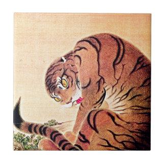 Japanese Tiger Woodblock Vintage Art Ukiyo-E Ceramic Tile