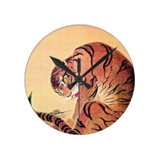 Japanese Tiger Woodblock Vintage Art Ukiyo-E Wallclock