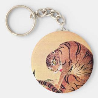 Japanese Tiger Woodblock Vintage Art Ukiyo-E Basic Round Button Keychain