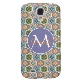 Japanese Tortoiseshell Honeycomb Lavender Orange Galaxy S4 Case