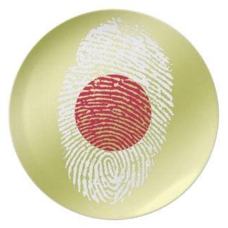 Japanese touch fingerprint flag dinner plate