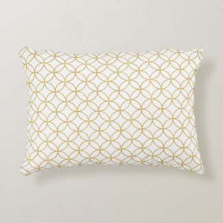 Japanese Traditional Design2 -SHIPPO- White&Gold Accent Pillow