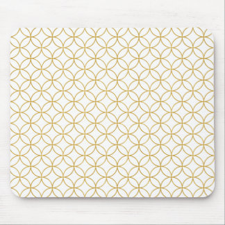 Japanese Traditional Design2 -SHIPPO- White&Gold Mouse Pad