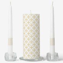 Japanese Traditional Design2 -SHIPPO- White&Gold Unity Candle Set