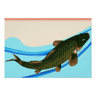 Japanese Traditional Koi Fish Poster