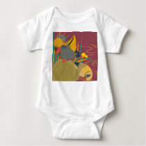 Japanese traditional pattern - Colorful bird Baby Bodysuit