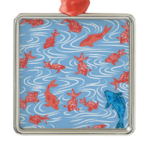 Japanese traditional pattern - Goldfish Metal Ornament
