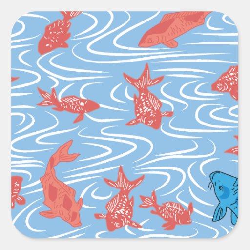 Japanese traditional pattern - Goldfish Pegatina Cuadrada