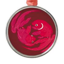 Japanese traditional pattern - Goldfish swimming Metal Ornament