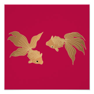 Japanese traditional pattern - Goldfish swimming Poster