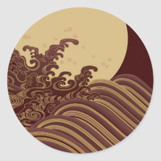 Japanese Traditional Wave and Moon Pattern Classic Round Sticker