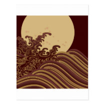 Japanese Traditional Wave and Moon Pattern Postcard