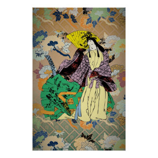 Japanese Traditional Women with Flower Pattern Poster
