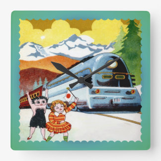 Japanese train, railway from vintage collection square wall clocks