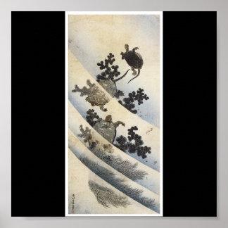 Japanese Turtles,  Japanese painting c. 1832-1833 Poster