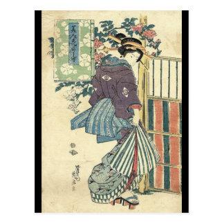 japanese ukiyo-e garden traditional kimono geisha postcard