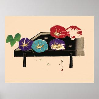Japanese Ukiyo-e Morning Glories c. 1860 Poster