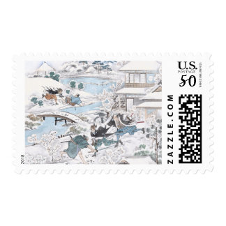 Japanese Ukiyo- e of the 47 Ronin Fighting Samurai Postage