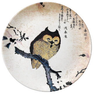 Japanese ukiyo-e Owl on a Branch Porcelain Plates