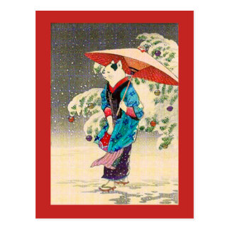 Japanese ukiyoe cat christmas postcard