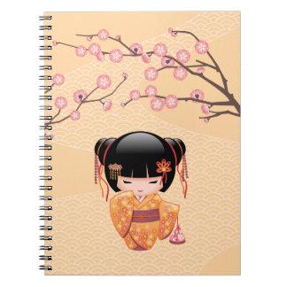 Japanese Ume Kokeshi Doll Spiral Note Books