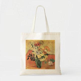 Japanese vase, roses and anemones by Van Gogh Tote Bag