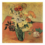 Japanese vase, roses and anemones-Vincent van Gogh Posters