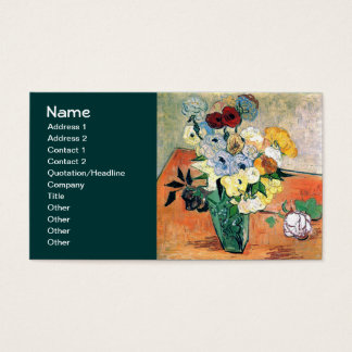 Japanese Vase Roses Anemones Van Gogh Fine Art Business Card