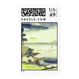 Japanese Village by the Sea Woodblock Art Ukiyo-E Postage Stamp
