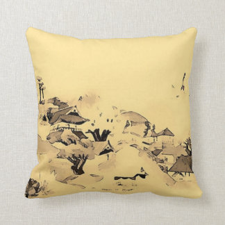 Japanese Village Watercolor Art Throw Pillow